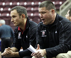 Coach Ventresca and Coach Haley during the state duals in Hershey